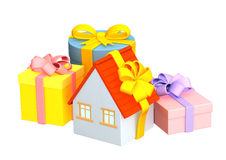 3d明亮礼品房子磁带包裹 免版税库存图片