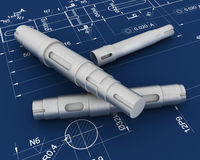3d机械模型草图 免版税图库摄影