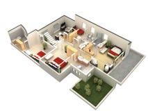 3d楼面布置图 免版税库存图片