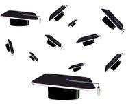 3d毕业多种帽子范围 库存图片
