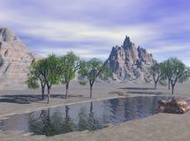 3d沙漠幻想湖回报 免版税库存图片