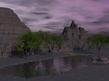3d沙漠湖晚上回报了 库存例证