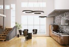 3d现代内部的厨房 免版税库存照片