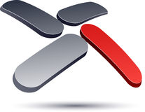 3D现代X徽标图标。 免版税库存照片