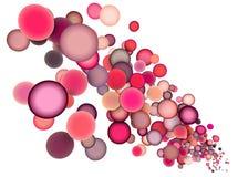 3d球上色浮动的多个桃红色红色 库存图片