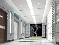 3d电梯大厅翻译 库存照片