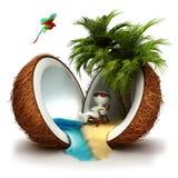 3d白人在椰子天堂 免版税库存图片