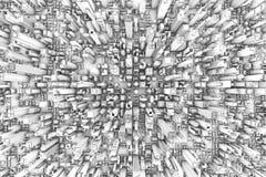 3D空中城市的大厦 免版税库存图片