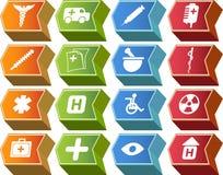 3d箭头按钮图标医疗系列集 免版税库存照片