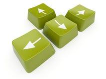 3d箭头计算机绿色查出的关键字 免版税库存照片