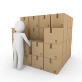 3d纸盒人力程序包发运 免版税图库摄影