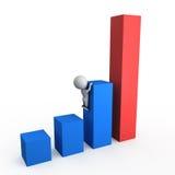 3d绘制增长例证图表 免版税库存图片