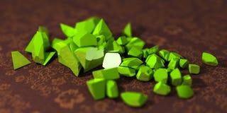 3D绿色岩石 库存照片