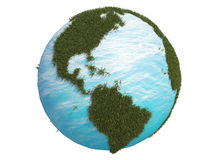 3d美国加拿大cg地球南北的草绿色 库存图片