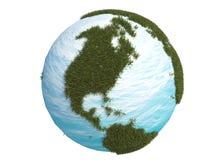 3d美国加拿大cg地球南北的草绿色 图库摄影