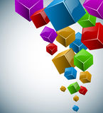 3d背景五颜六色的多维数据集 免版税库存照片