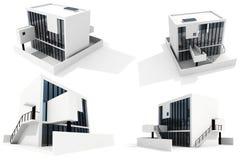 3d背景房子查出的现代白色 库存例证