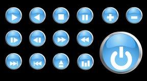 3d蓝色按钮图标集合向量 库存例证