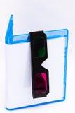 3d蓝色案件光盘空的玻璃光芒 库存图片