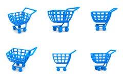 3d蓝色购物车多个购物 库存照片