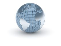 3d蓝色金属世界 免版税图库摄影