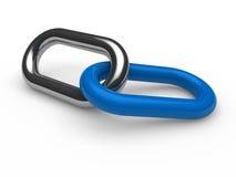 3d蓝色链镀铬物 免版税库存图片
