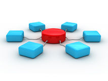 3d蓝色颜色概念网络存在了红色 库存图片
