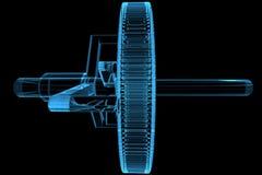 3d蓝色齿轮星球透明X-射线 库存照片