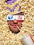 3d表面电影玉米花注意 库存图片