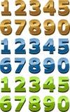 3d被设置的光滑的图标编号使样式光滑 免版税库存照片