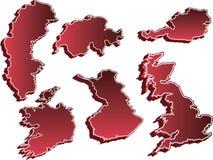 3d被设置的国家(地区)映射 免版税库存照片