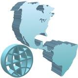 3d西部蓝色深刻的地球地球半球的符号 免版税库存图片