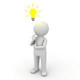 3d认为与在他的题头之上的想法电灯泡的人 库存照片