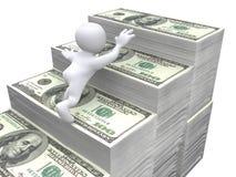 3D货币台阶的人力爬行 免版税图库摄影