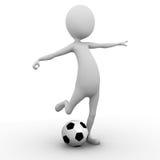 3D踢足球的人 库存图片