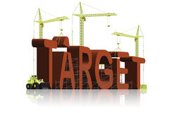 3d达到目标图标到达成功目标文本 免版税图库摄影
