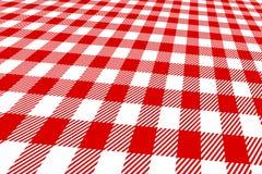 3d野餐红色桌布白色 免版税库存图片