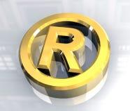 3d金子后备的正确的符号 库存图片