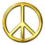 3d金黄和平标志 免版税库存图片