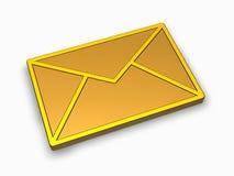 3d金黄图标邮件 免版税库存照片