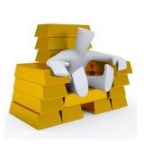 3d金黄扶手椅子的字符坐 免版税库存图片