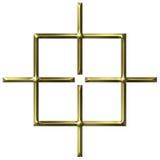 3d金黄方形目标 向量例证