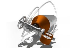 3d铝被生成的例证氧气罐 免版税库存照片