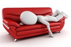 3d长沙发疲倦的人休眠 向量例证