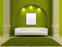 3d长沙发绿色内部空间白色 库存例证
