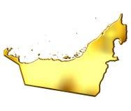 3d阿拉伯团结的酋长管辖区金黄映射 库存照片