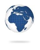 3d非洲地球欧洲登陆视图 库存图片