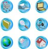 3d颜色图标互联网集合万维网 免版税库存图片