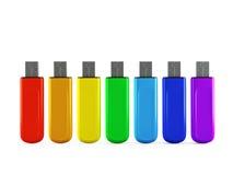 3d颜色USB闪光驱动器行  库存照片