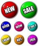 3d高质量销售额购物签署标签 免版税库存照片